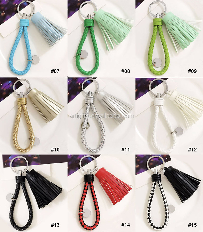 Custom Colorful Blank Pu Leather Tassel Key Chain Metal Ring Holder Keychain With Logo