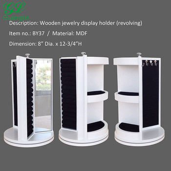 360 Rotated White Table Top Small Jewelry Cabinet