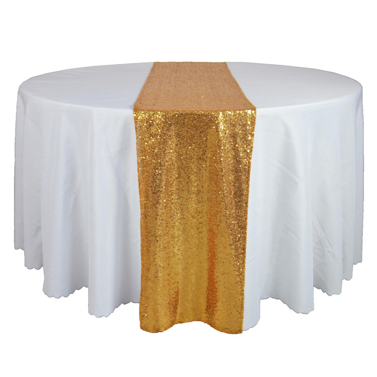 Marious 30 275cm Gold Sequin Table Cloth Wedding Runners For Banquet Runner Decoration