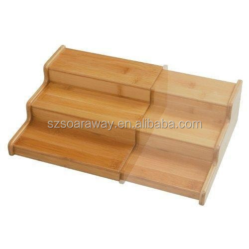Bamboo 3-steped Expandable desktop organsizer,organizer good for kitchen