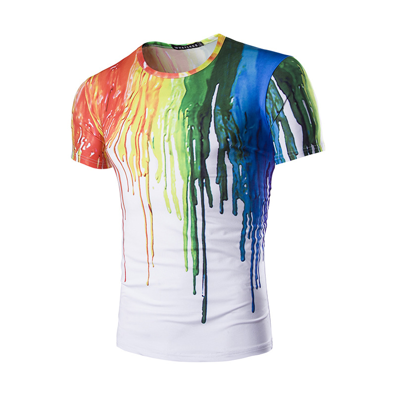 Hot Sell New Cover Paint 3D Printed Men's T-shirt Wholesale