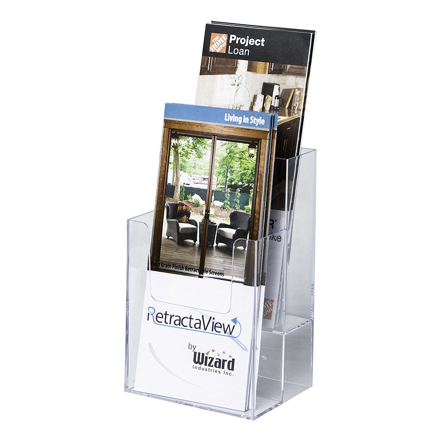 Clear-Ad - LHF-S102 - Acrylic Slant Back 2 Tier Trifold Brochure Display - Plastic Literature Holder for Flyers, Booklets, Bills, Mail, Letters, Cards, Pamphlets, Maps (Pack of 6)