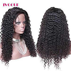 iVogue Hair Mongolian Kinky Curly Human Hair Wigs Glueless Full Lace Wig Lace Front Wig for Black Women 20inch 130density (20inch Full Lace Wig)