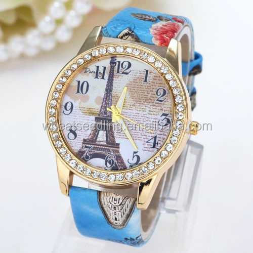 Wholesale crystal eiffel tower leather straps vogue china watch
