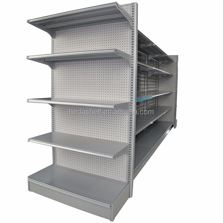 Competitive price customized supermarket gondola shelving / cold rolled steel store shelves used to market