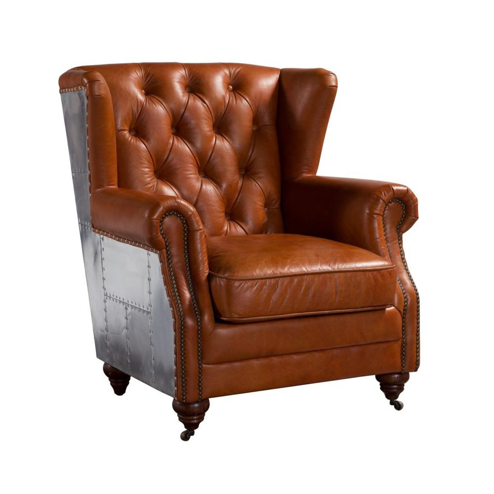 Hotel Brown Leather Chesterfield Sofa Chair Furniture ...