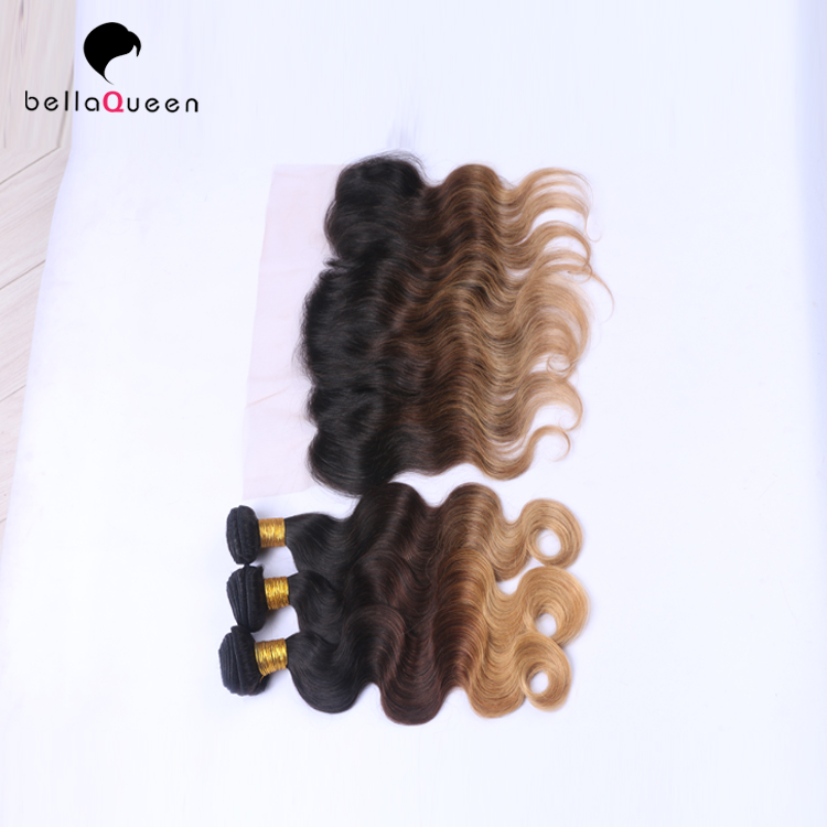 T/30/27  13*4 Lace Closure With 3pcs Brazilian Virgin Hair Weft Body Wave three tones colors