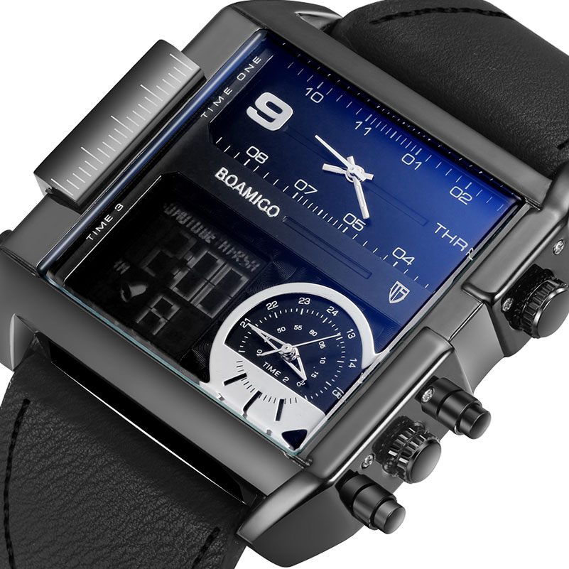 Unique Design Square Military Big Dial Leather 3 Time Zone Alarm Led Clock Waterproof Sports Boamigo Quartz Digital Men Watch
