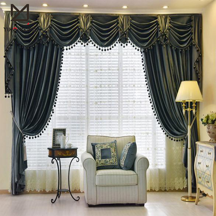 Fancy Elegant Velvet Window Curtains And Swags For Living Room Buy