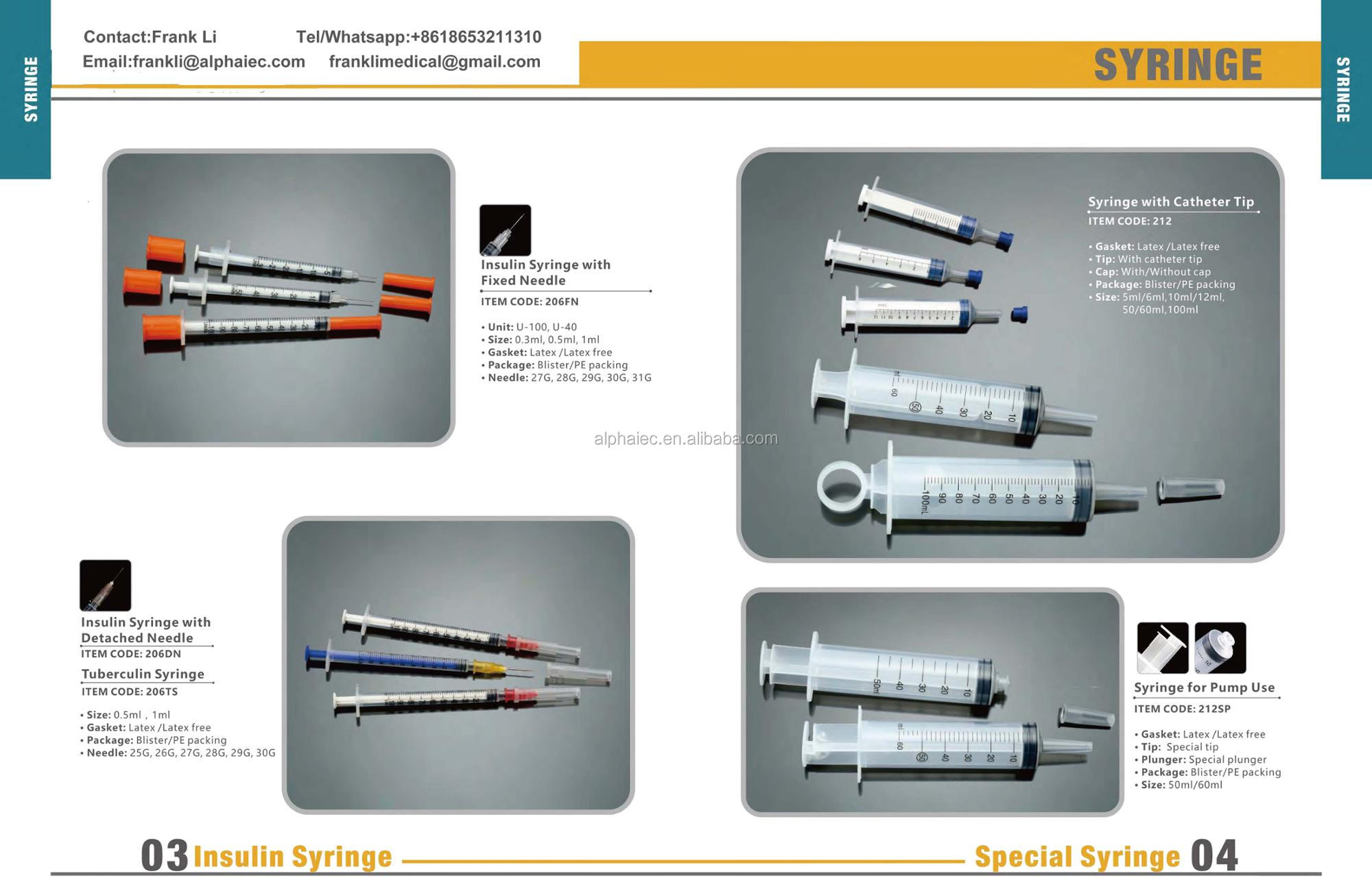 Free Sample Insulin Syringe 1ml Orange Cap Insulin Syringe
