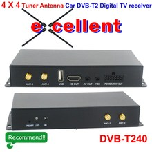 DVB-T240 Car TV channel 4 tuner with 4 cam slot ird Receiver