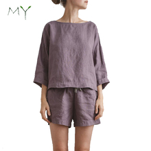 Frauen Pyjamas <span class=keywords><strong>Leinen</strong></span> Top und Shorts Set Damen <span class=keywords><strong>Leinen</strong></span> Bluse und Shorts Pyjama Set