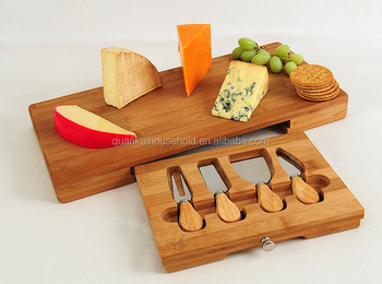 100% Natural Premium Bamboo Cheese Board/Tool Set
