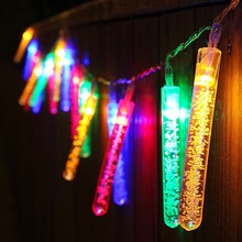 Led Bubble Icicle Fairy String Light Solar Power Christmas Party Decorative Lighting
