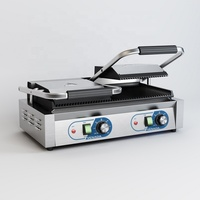 CE certificate Double Contact grill Steak plate furnace electric griddle fry machine all ribed Sandwich Grill Panini
