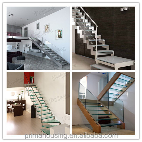 Madera recta escalera duplex villa escalera barandilla de vidrio templado buy duplex villa - Escaleras para duplex ...