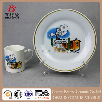 handmade custom ceramic snack plate and cup