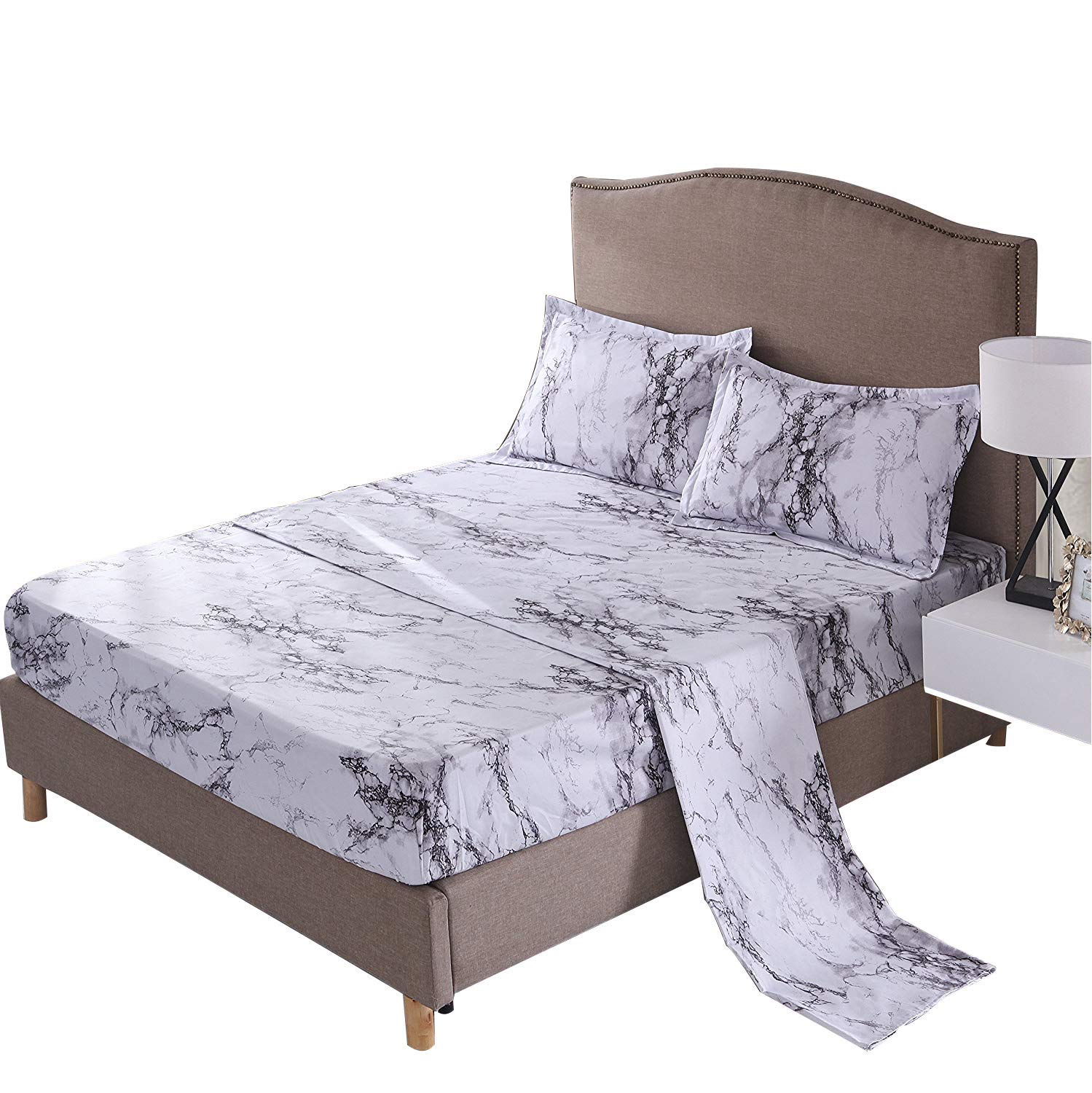 Full 1x Duvet Cover, 2X Pillow Shams WINLIFE 3D Marble Line Print Duvet Cover Include