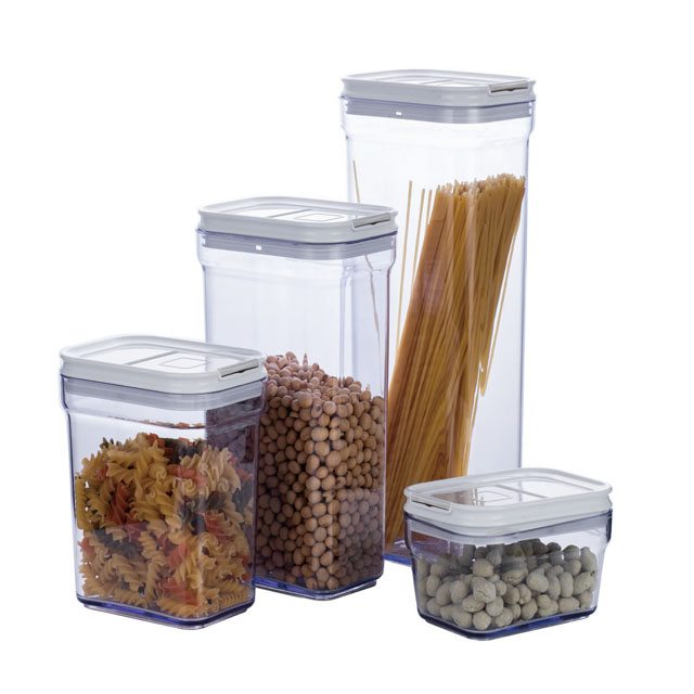 Hot selling 4 stks clear plastic voedsel opslag jar uit China