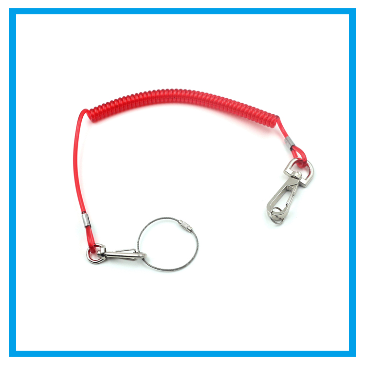 Small Retractable Plastic Spring Tool Safety Coil Lanyards / Stretch ...