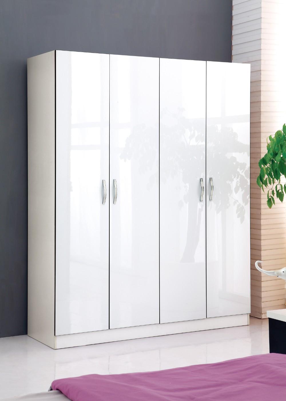 white color high gloss bedroom wardrobe with 4 door buy bedroom