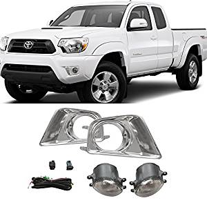 Relay Switch VioGi 2pcs Aftermarket Chrome Trim /& Cover Clear Glass Lens Fog Lights With Bulbs Bracket For 12-15 Toyota Tacoma Wiring Harness