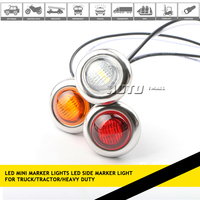 3/4 inch 0.75inch mini round led side marker lights with rubber grommets