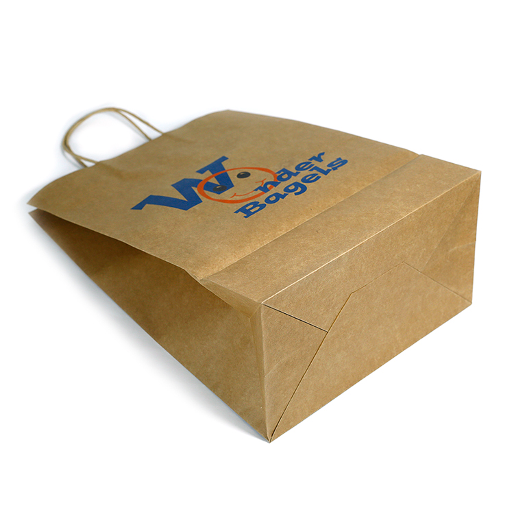 LPSB018 Promotion Recycled Custom Printed Grocery  Brown Shopping Paper Packaging Bag