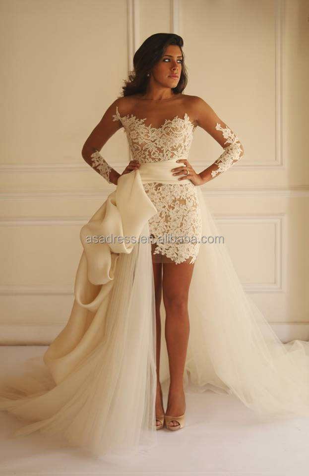 latest sexy long sleeve bridal gown short wedding dress with long train sheer lace wedding dresses