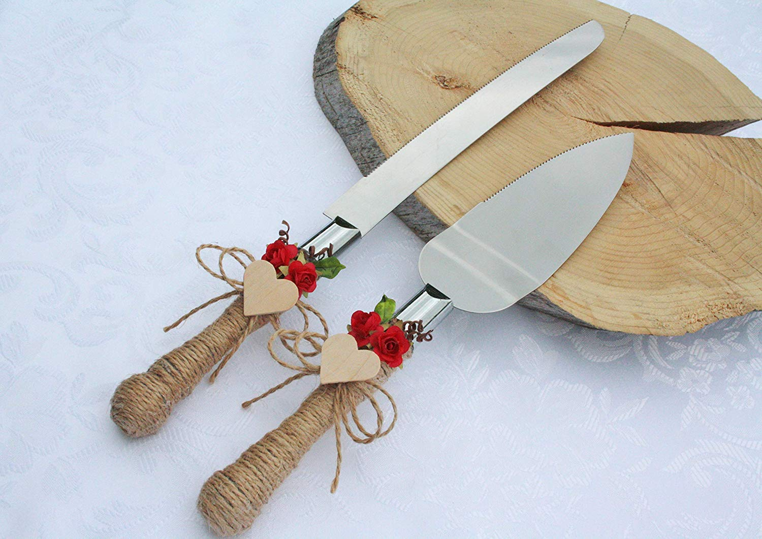 Rustic chic wedding cake cutter, red flowers cake cutter, Wedding cake server set, Country wedding cake cutting, Cake server & cake knife set