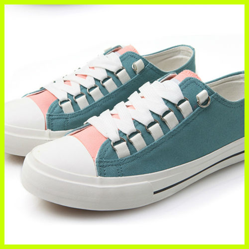 S3009 wholesale new spring fall shallow mouth lace straps mixed colors single shoes canvas shoes sweet women shoes