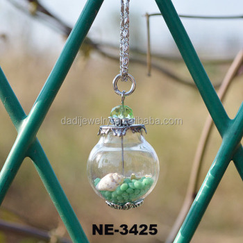 Glass Terrarium Necklace Wholesale Silver Plated Chain Glass Cover