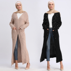 Knit cotton women warm coat winter abaya