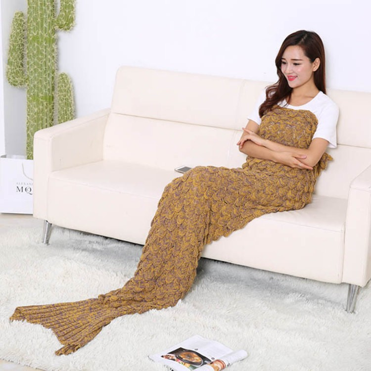 UNIKEA Knitted Mermaid Blanket Adult Mermaid Tail Blanket For Sofa Throw  Blankets 90195cm Available In 7