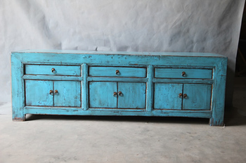 Chinese Antique Blue TV Cabinet Asian Furniture