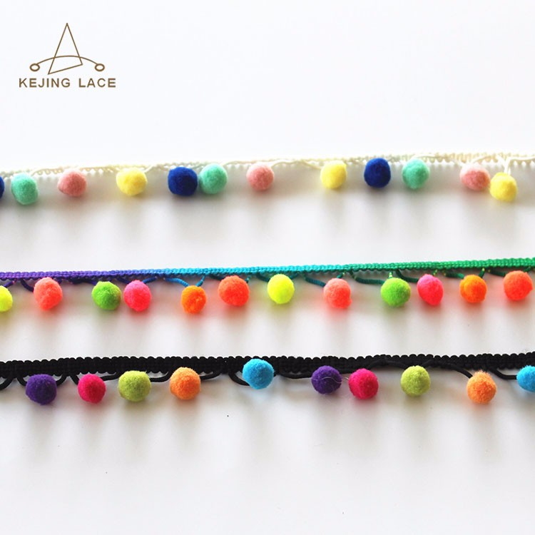 wholesale craft 100%polyester pom pom ball chain and lace trim with any color