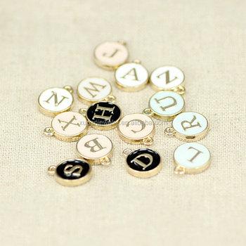 Diy Metal Alphabet Charms Pendant Gold Enamel Alloy Letters For Bracelet