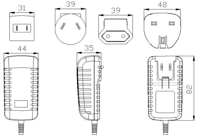 au us uk eu plug 24w power supply 12v 2a interchangeable plug adapter