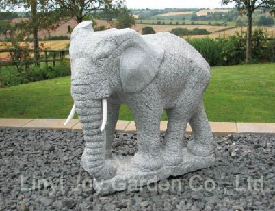 Wholesale Chinese Garden Grey Granite Stone Animal Carving Large Elephant Statues