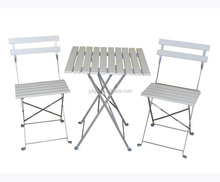 white color 3 piece metal outdoor folding synthetic wood bistro set