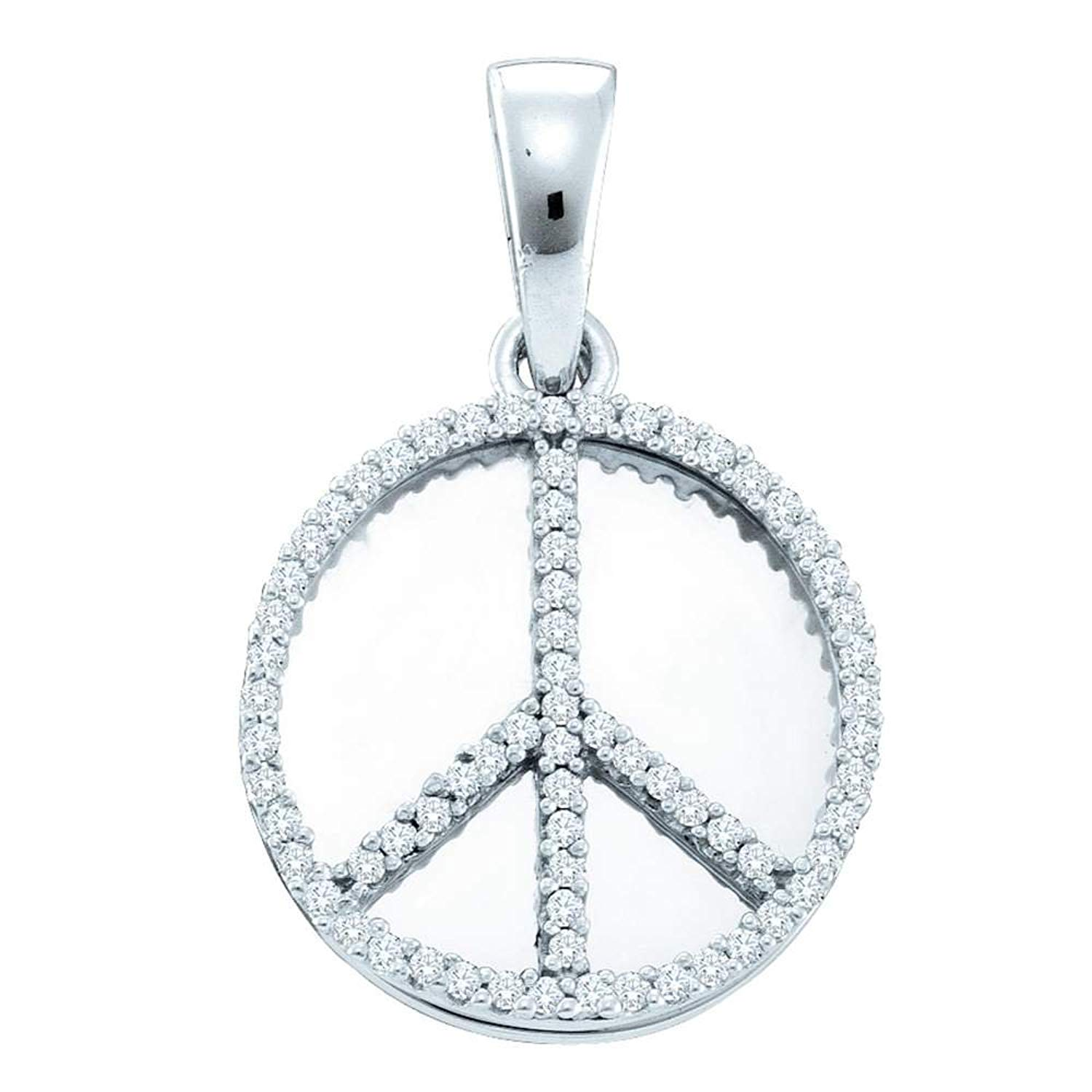 1df6625ba754c Get Quotations · Sterling Silver Round Diamond Peace Sign Circle Disc  Pendant 0.23 Cttw