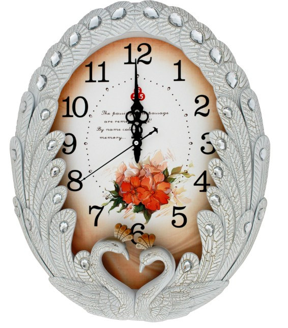 Beautiful polyresin peacock design quartz wall clock for home decoration
