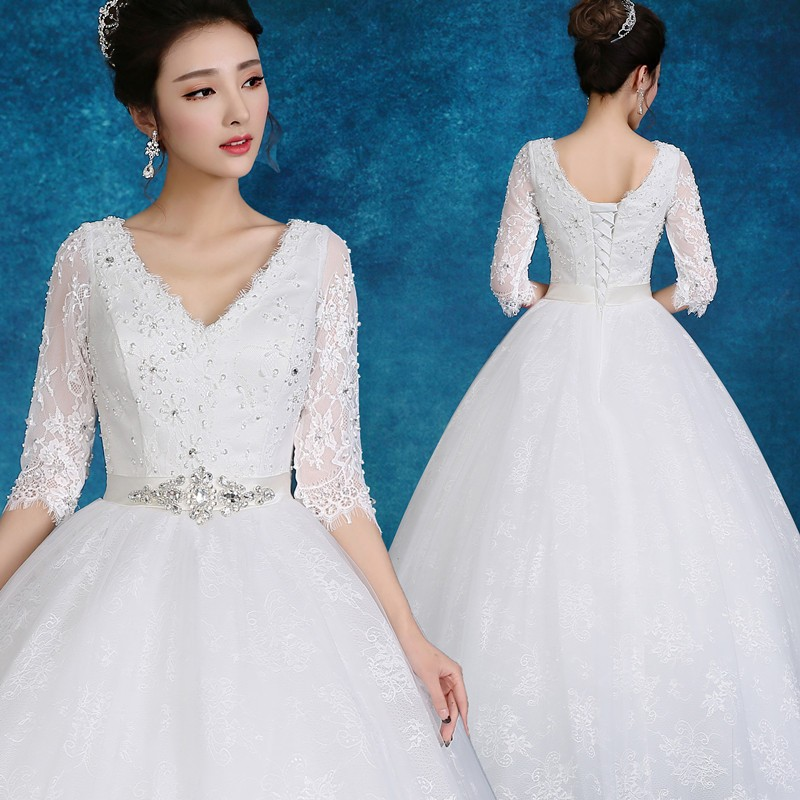 2017 Latest Design Elegant V Neck Middle-length Sleeves Lace Wedding ...