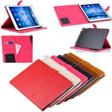 Ctunes design pure color luxury wallet leather case for ipad air 2