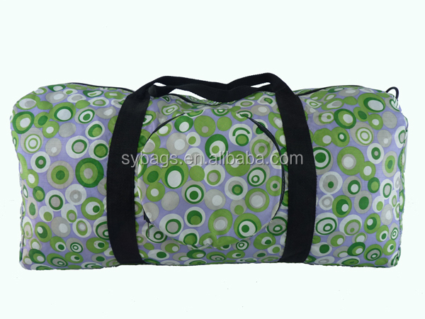 fashion polyester foldable travel bag / trolley sports bag / Wheeled Travel Bag