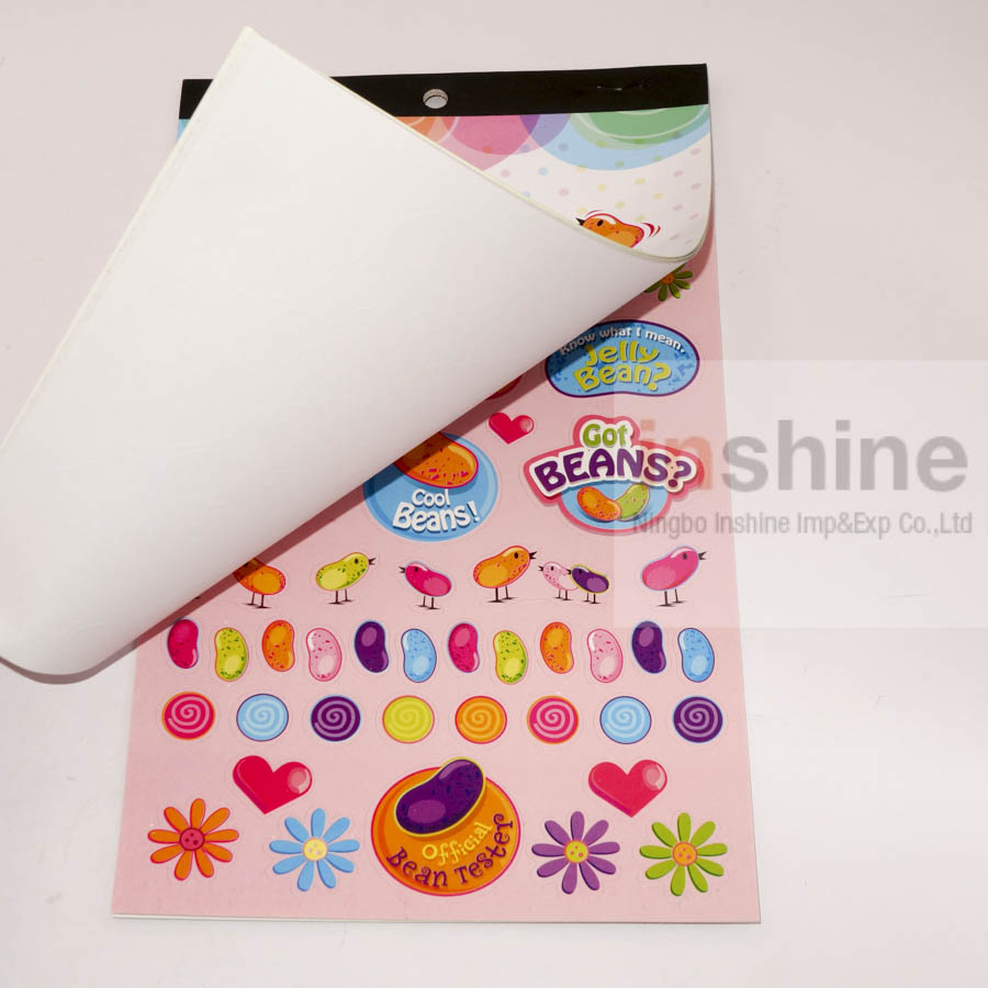 IN53607 Easter jelly beans stickers book , Die-cut easter character-shaped sticker book