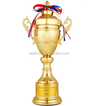 Big Plastic Gold Sports Trophy Cup Replica Award With Ribbons