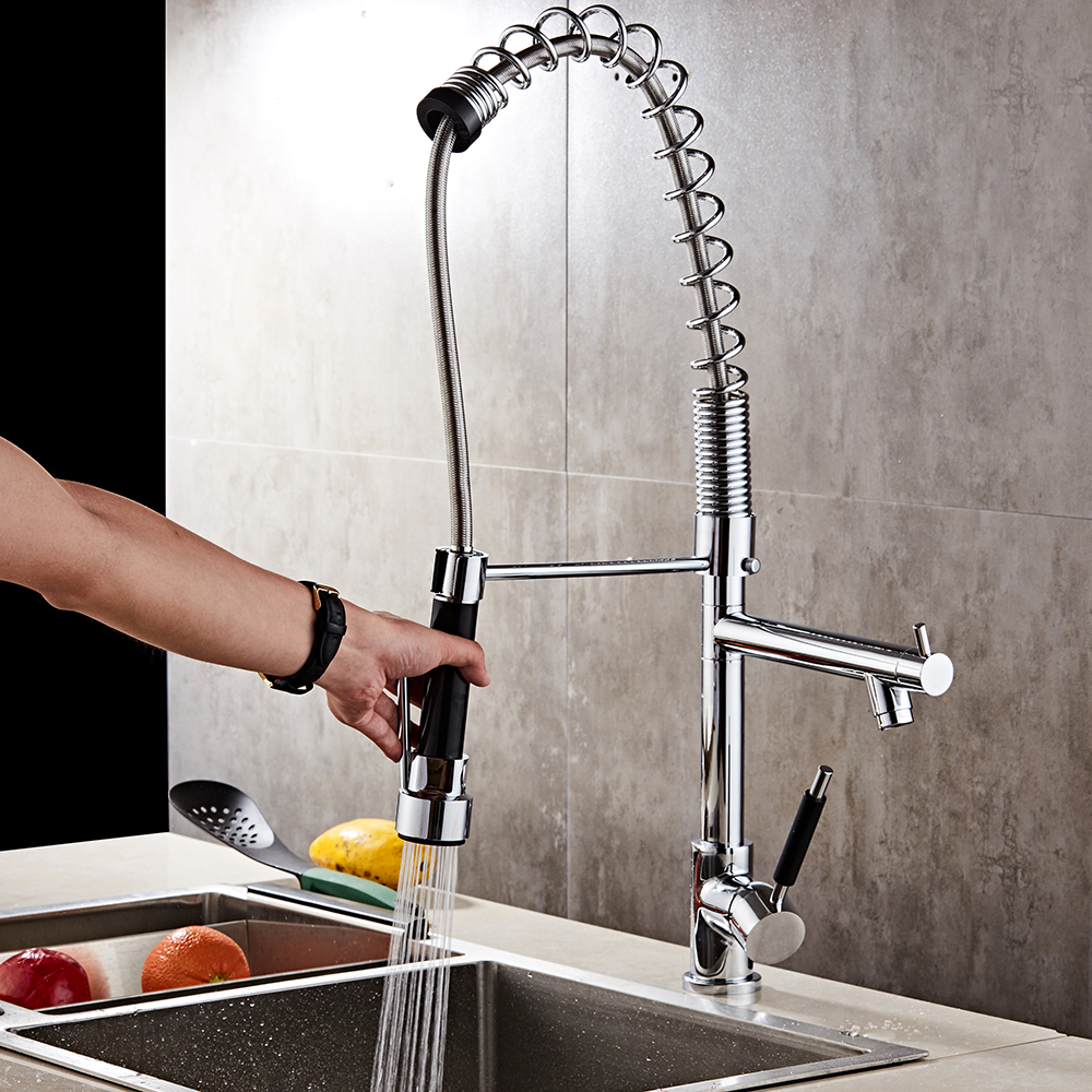 Hot/cold water mixer spring pull out metered faucets single handle brass kitchen faucet