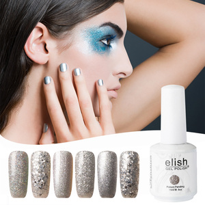 Gel nail polish glitter shimmer silver soak off UV LED gel for nail studio