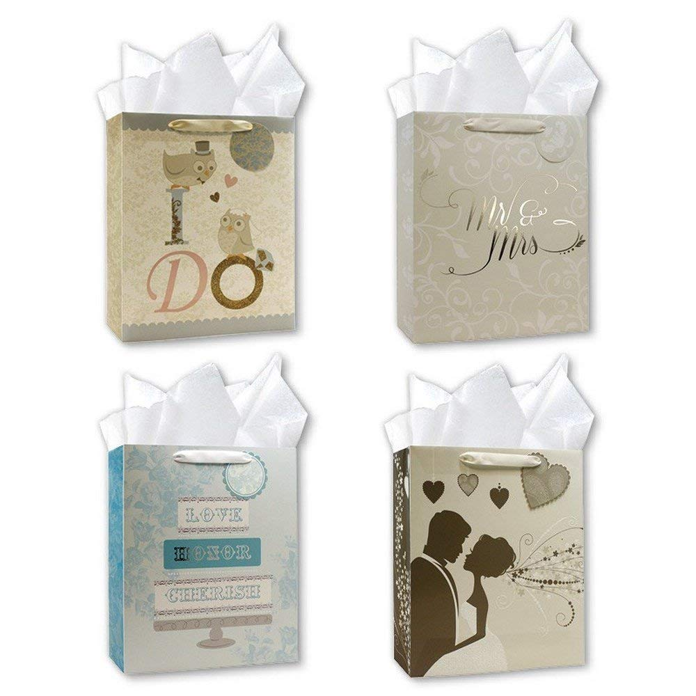 "Wedding Gift Bags 10"" x 12"" x 5"", Assorted Designs, with attached Gift Tags and Tissue Paper - Pack of 4"